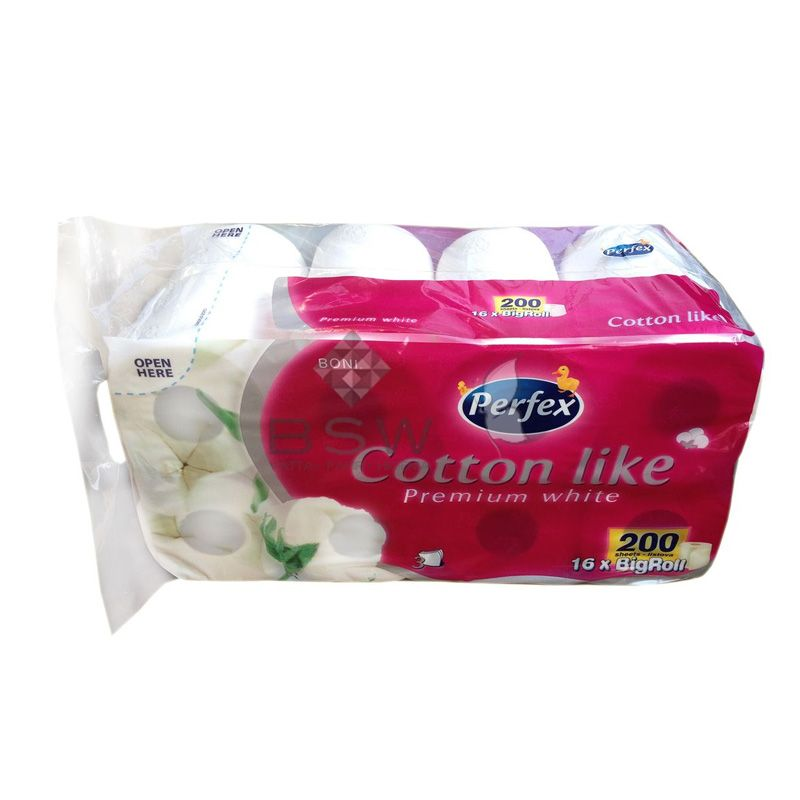 Boni Perfex Cotton Like Premium White, 100% cellulose toilet paper